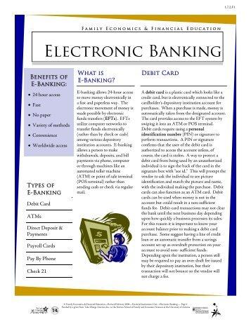 Electronic Banking Infromation Sheet