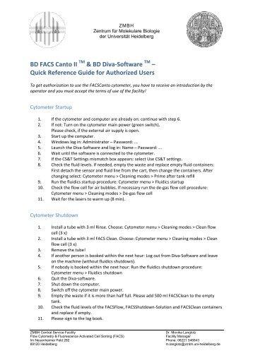 Bd facs canto ii user's guide.