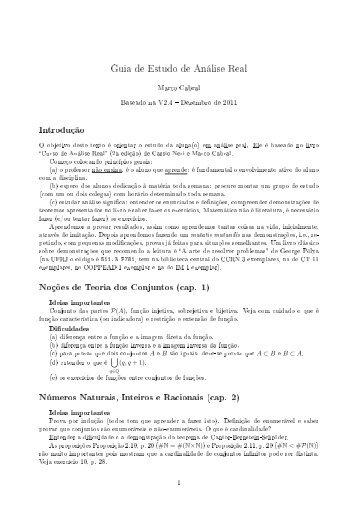 Guia de Estudo de Análise Real - Laboratório de Matemática Aplicada
