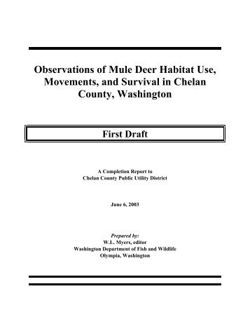 Observations of Mule Deer Habitat Use, Movements, and Survival in ...