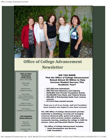 Office of College Advancement Newsletter - Los Medanos College