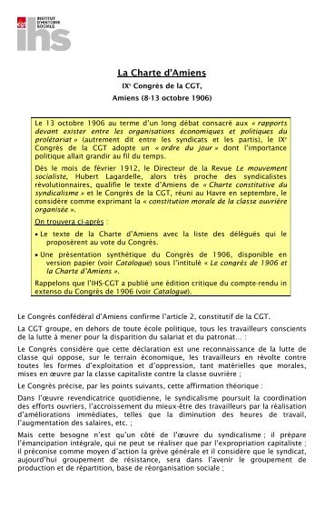 La Charte d'Amiens - Institut d'Histoire Sociale CGT