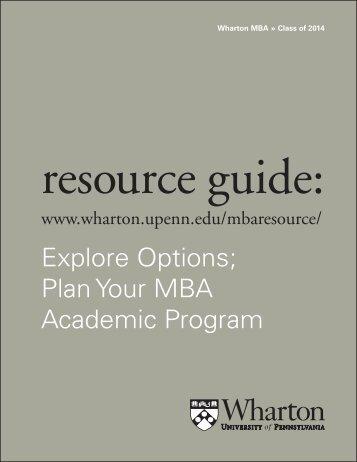 Explore Options; Plan Your MBA Academic Program