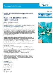 Kutsu ja ohjelma (pdf) - High-tech sairaalafoorumi - VTT