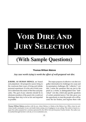 voir dire The true value of a law degree, or why did thurgood marshall go to law school r lawrence dessem & gregory m stein volume 65 there has been vigorous debate in recent months over whether a law degree is a worthwhile investment much of this discussion has focused on whether the economic costs of.