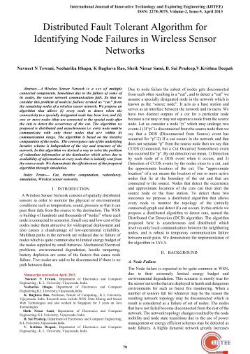 Distributed Fault Tolerant Algorithm for Identifying Node Failures in ...