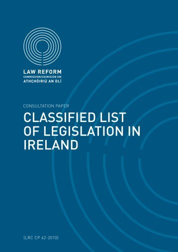 Consultation Paper on a Classified List of Legislation in Ireland
