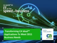Transforming CA Ideal™ Applications To Meet 2011 Business Needs