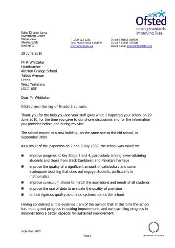 Ofsted published report - Allerton Grange High School