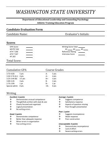 applicant evaluation form