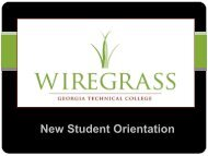 orientation for new students - Wiregrass Georgia Technical College