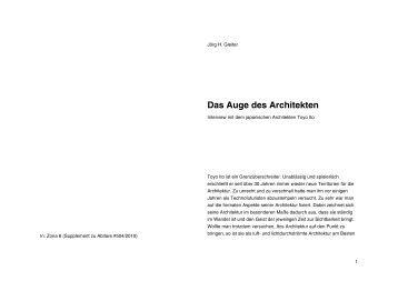Das Auge des Architekten - Architekturtheorie
