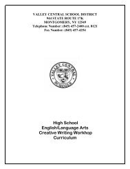 CREATIVE WRITING WORKSHOP - Valley Central School District