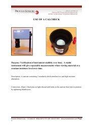 USE OF A CALCHECK - Process Sensors Corp.