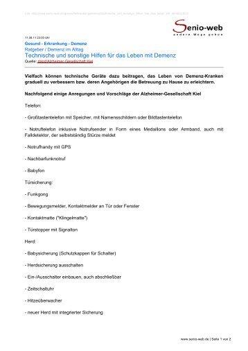 Technische und sonstige Hilfen für das Leben mit ... - Senio-Web
