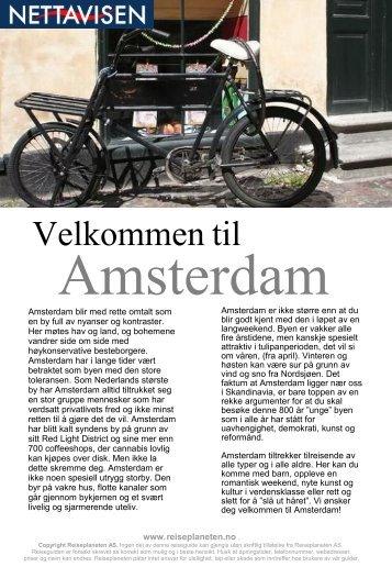 Amsterdam Reiseguide fra Reiseplaneten AS - www.reiseplaneten.no