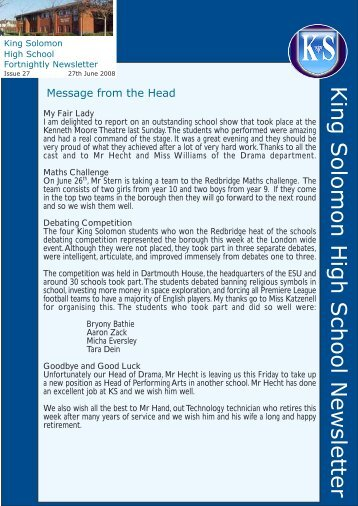 King Solomon High School Newsletter