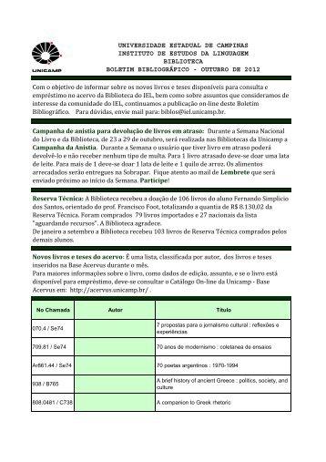 Boletim da Biblioteca - Outubro 2012 - IEL - Unicamp