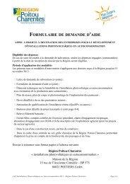 FORMULAIRE DE DEMANDE D 'AIDE - Région Poitou-Charentes