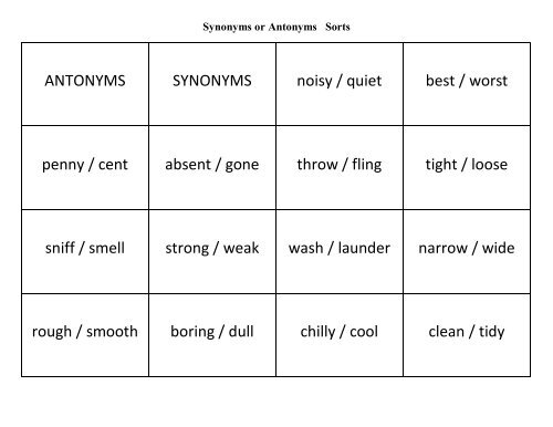 Sorts Synonyms or Antonyms