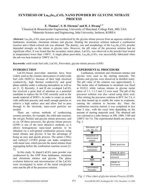 synthesis of la0 8sr0 2cro3 nano powder by glycine nitrate