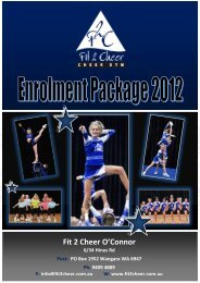 F2C Enrolment Package 2012 - O'Connor - Fit 2 Cheer