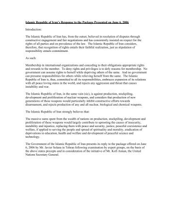 Islamic Republic of Iran's Response to the Package Presented on ...