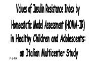 Values of Insulin Resistance Index by Homeostatic Model Assessment