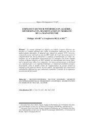 Emploi et secteur informels en Algérie - Region et Developpement