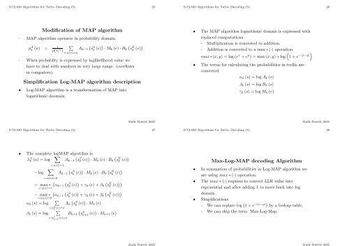 Turbo decoding algorithms Algorithms for Iterative (Turbo) Data ...