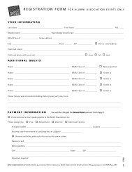 registration form for alumni association events only