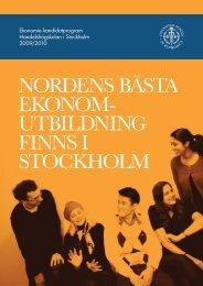 NORDENS BÄSTA EKONOM- UTBILDNING FINNS I STOCKHOLM