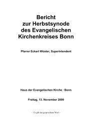 der Jahresbericht 2009 des Bonner Superintendenten, Pfarrer ...