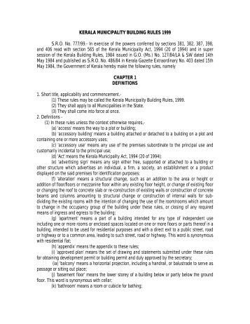 Kerala Municipal Building Rules (KMBR) - Building Permit