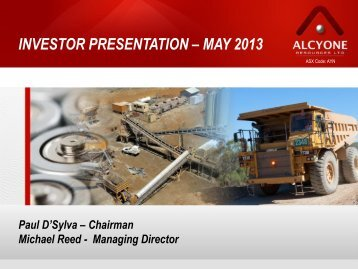 Shareholder Presentation Update - Alcyone Resources