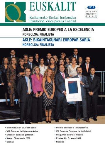 ASLE: PREMIO EUROPEO A LA EXCELENCIA ASLE ... - Euskalit