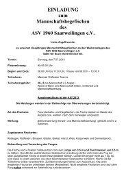 Ausschreibung - ASV Bilsdorf 1961 e.V