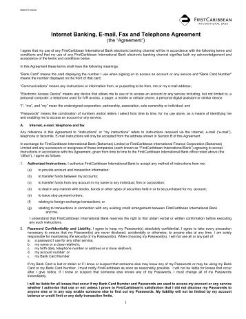 Internet E-mail, Telephone and Fax Agreement - FirstCaribbean ...