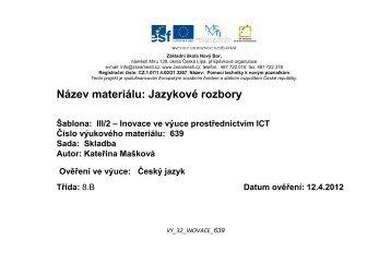 Jazykový rozbor - Základní škola Náměstí Nový Bor