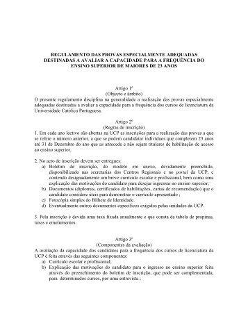 regulamento - Universidade Católica Portuguesa
