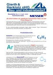 Newsletter No. 5 / 2013 → Technische Gase von der Firma Messer