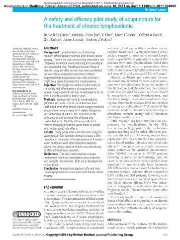 A safety and efficacy pilot study of acupuncture for the treatment of ...