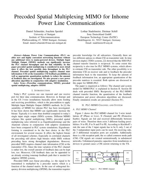 Precoded Spatial Multiplexing MIMO for Inhome Power Line