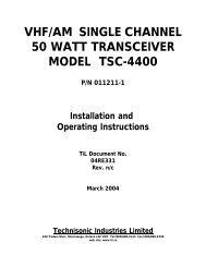 vhf/am single channel 50 watt transceiver model tsc-4400