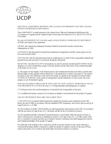 the peace agreement between the uganda government and ... - UCDP