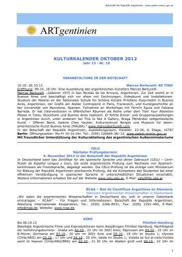 Kulturkalender Oktober 2012 - Embajada de la República Argentina ...