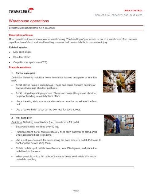 Warehouse Operations - Travelers Insurance