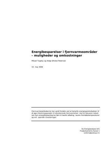Energibesparelser i fjernvarmeområder ... - Ea Energianalyse