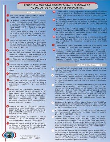 Residencia Temporal Corresponsal y Personal de Agencia de ...