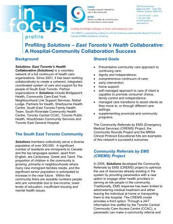 Profiling Solutions – East Toronto's Health Collaborative: A ... - crncc